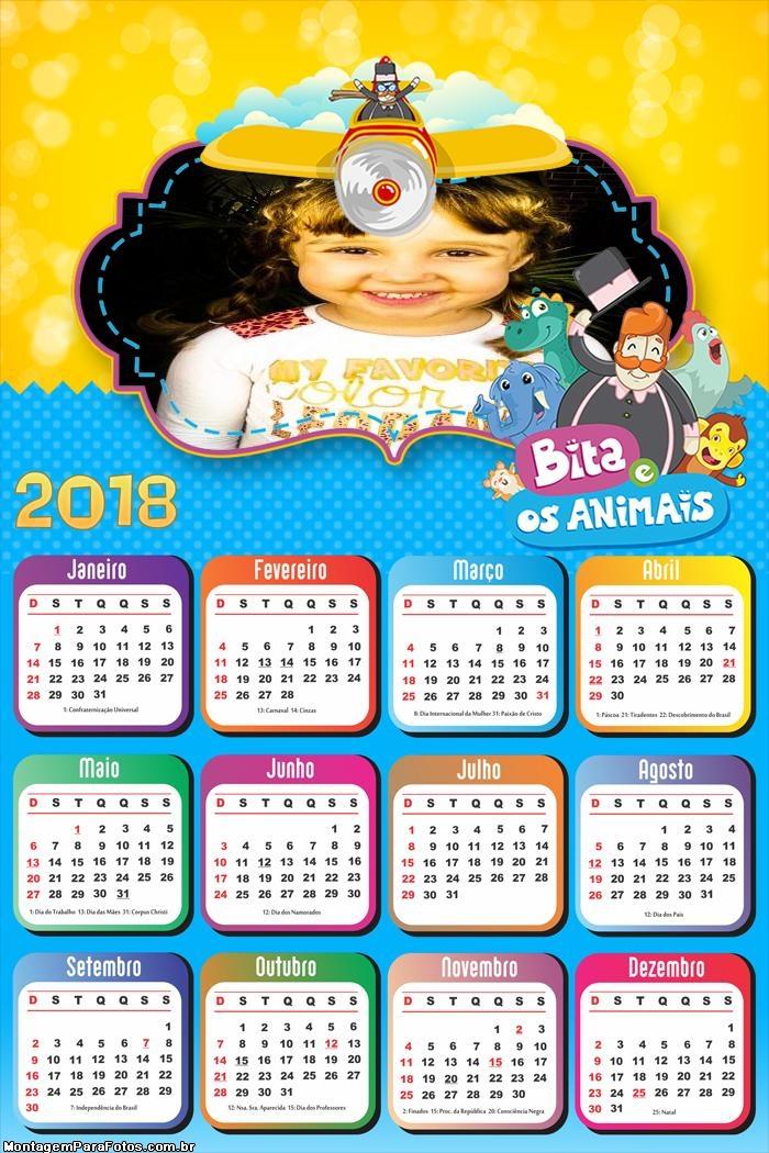Calendário 2018 Bita e os Animais