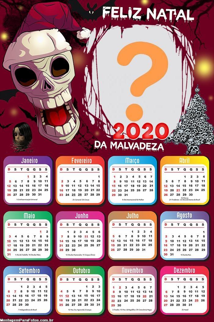 Calendário 2020 Papai Noel Assustador