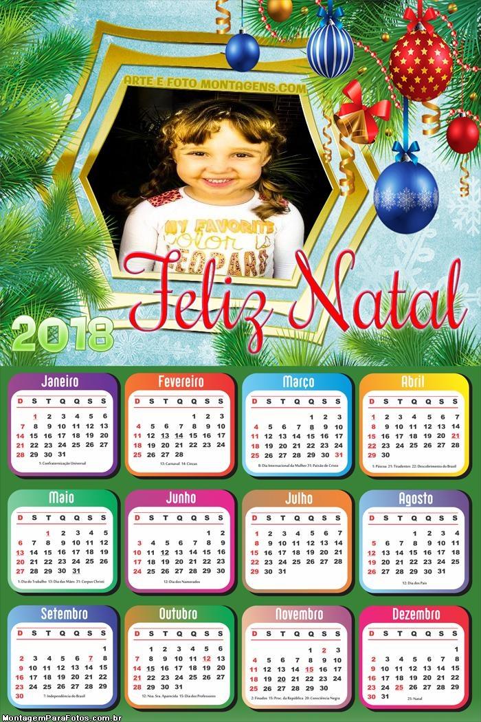 Calendário 2018 Moldura Natal