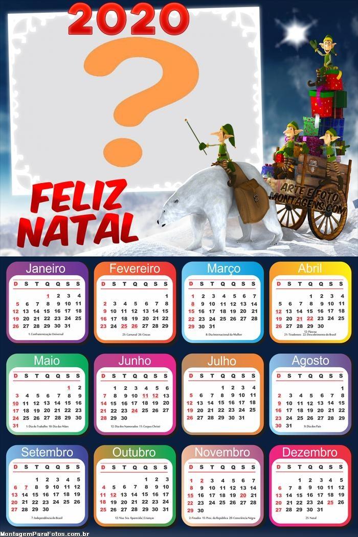 Calendário 2020 Ajudantes de Papai Noel Foto Colagem