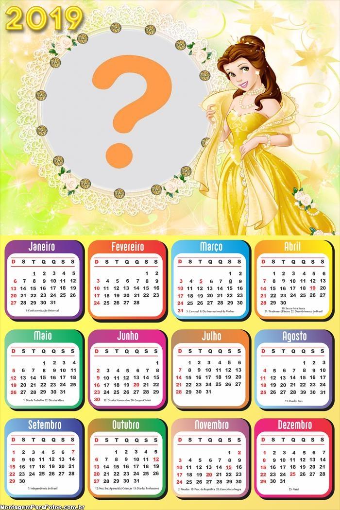 Calendário 2019 da Princesa Bela Disney