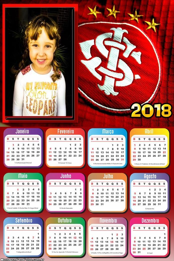 Calendário 2018 Internacional Time Futebol