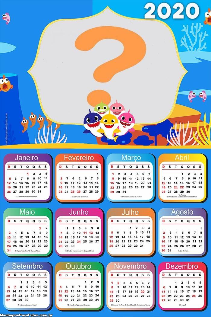 Calendário 2020 Baby Shark