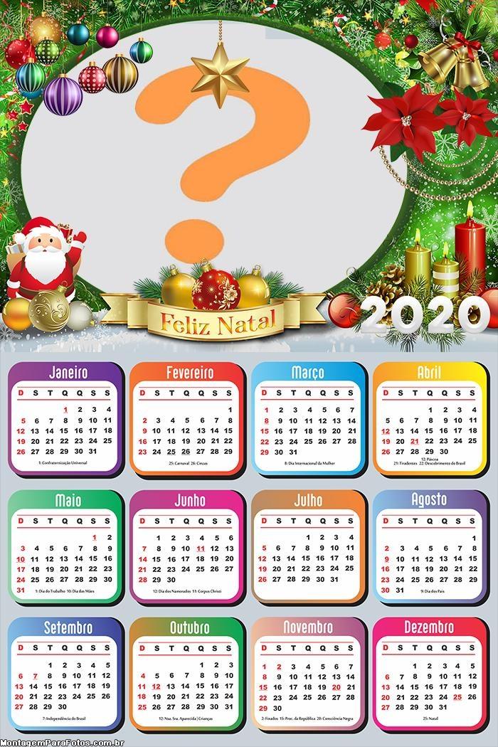 Calendário 2020 Feliz Natal Papai Noel Colagem de Foto