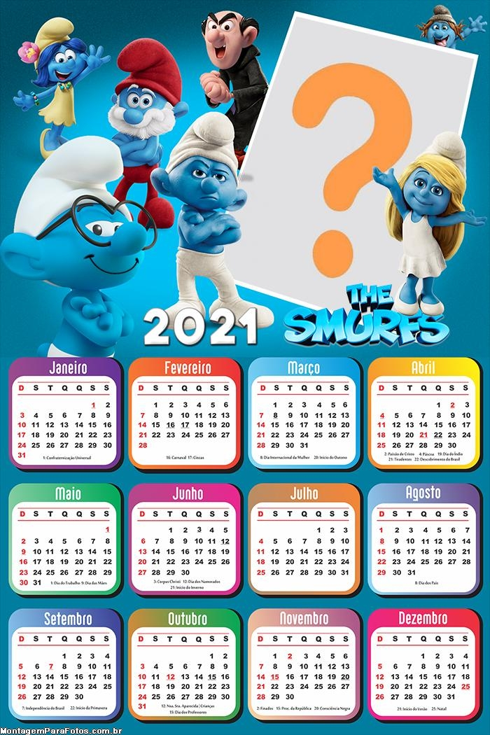 Calendário 2021 The Smurfs Foto Montagem