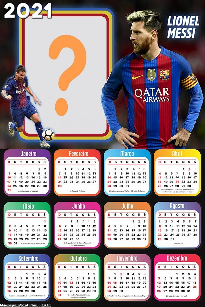 Calendário 2021 Lionel Messi Jogador de Futebol