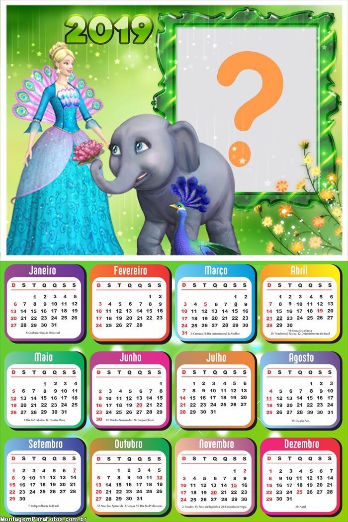 Calendário 2019 Barbie Princesa da Ilha