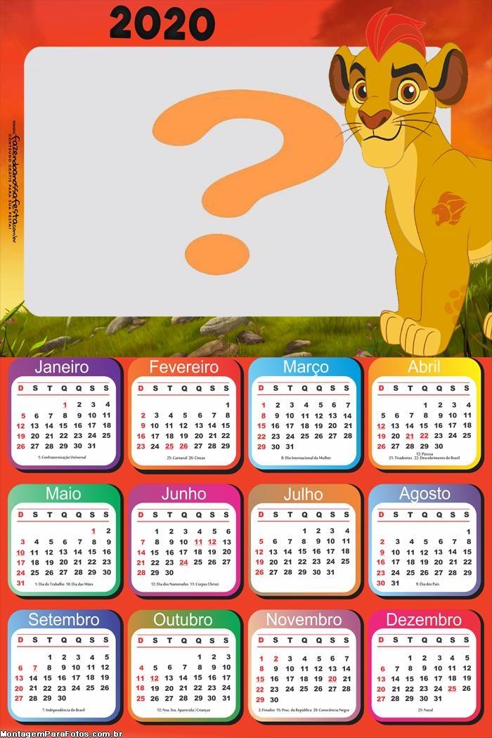Calendário 2020 Simba Rei Leão Colagem de Foto