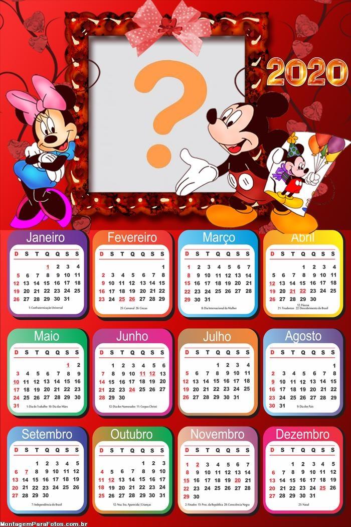 Calendário 2020 Mickey e Minnie
