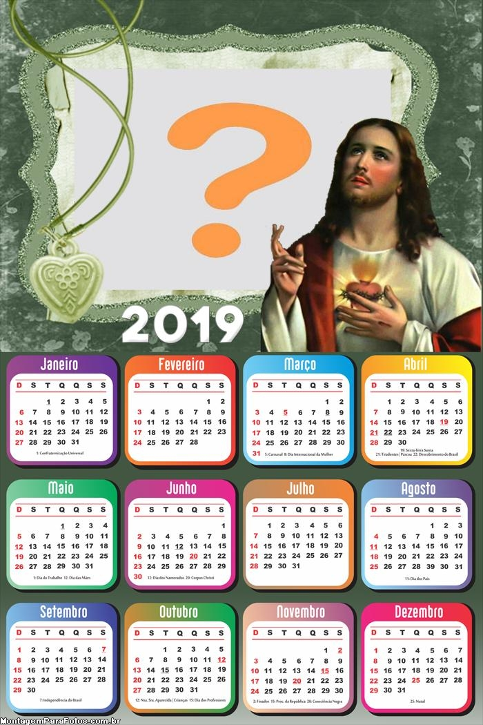 Calendário 2019 Jesus Moldura