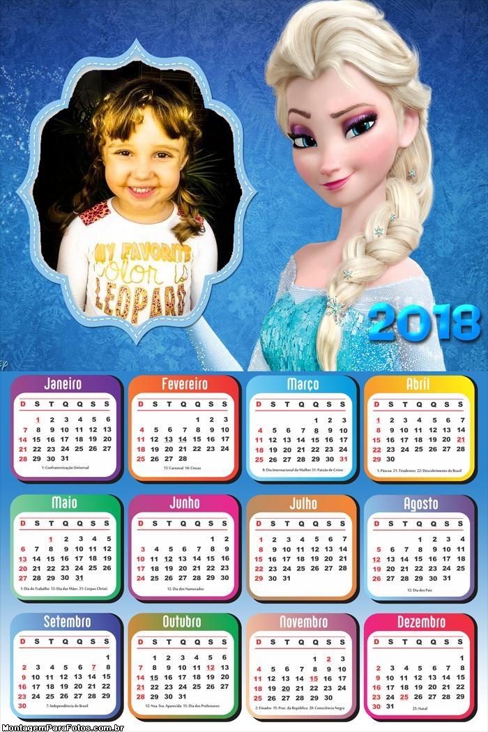 Calendário 2018 Elsa Frozen Princesa do Gelo