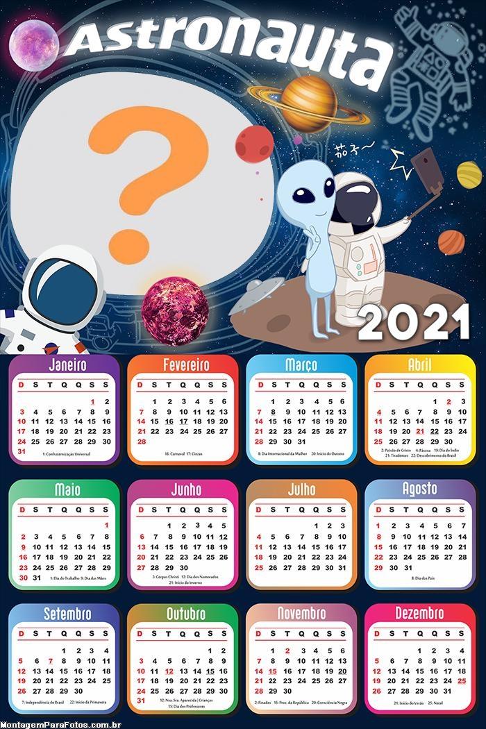 Calendário 2021 Astronauta Infantil