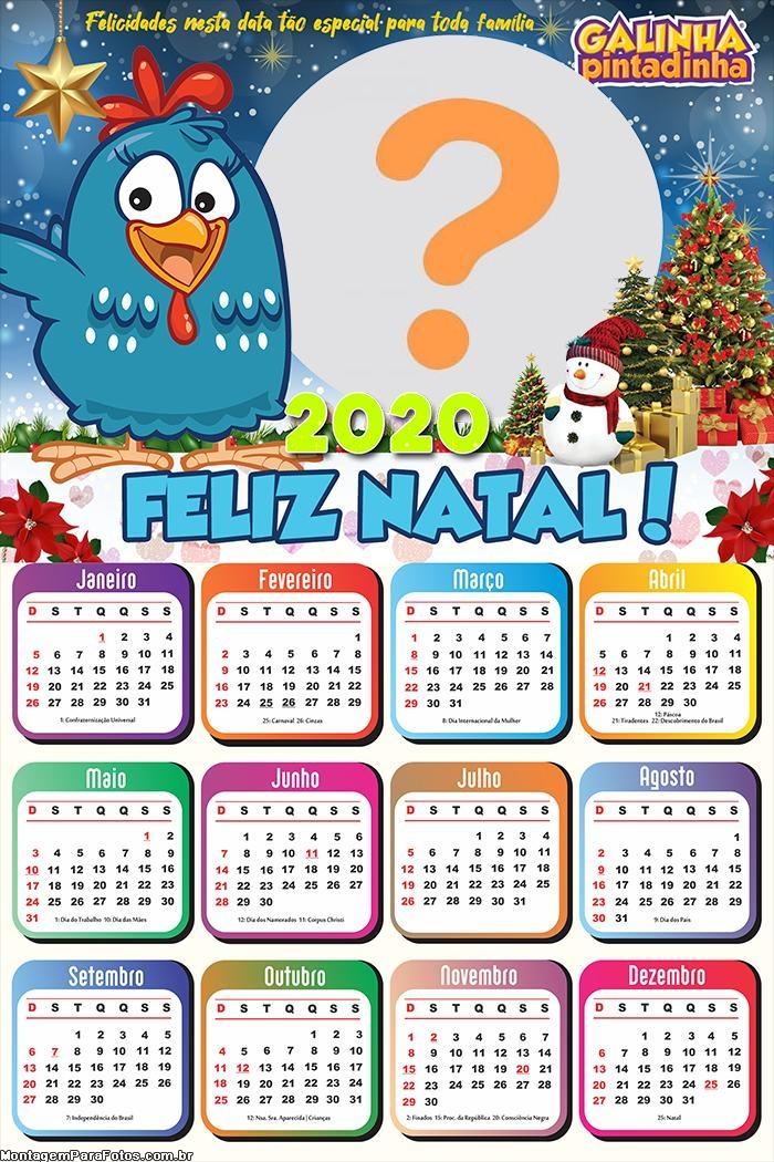 Calendário 2020 Feliz Natal Galinha Pintadinha