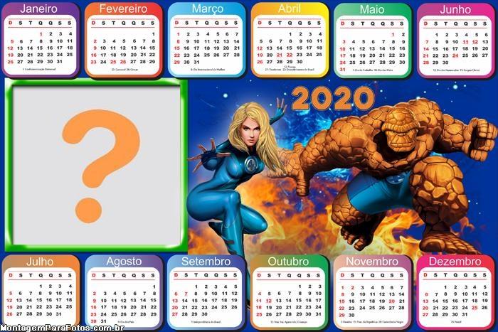 Calendário 2020 Horizontal Quarteto Fantástico