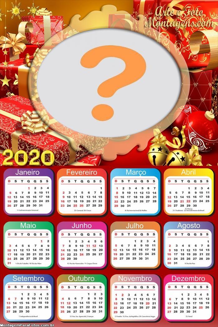 Calendário 2020 Natalino Montagem de Fotos