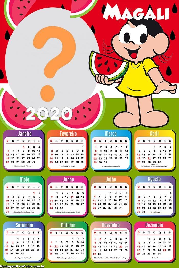 Calendário 2020 da Magali