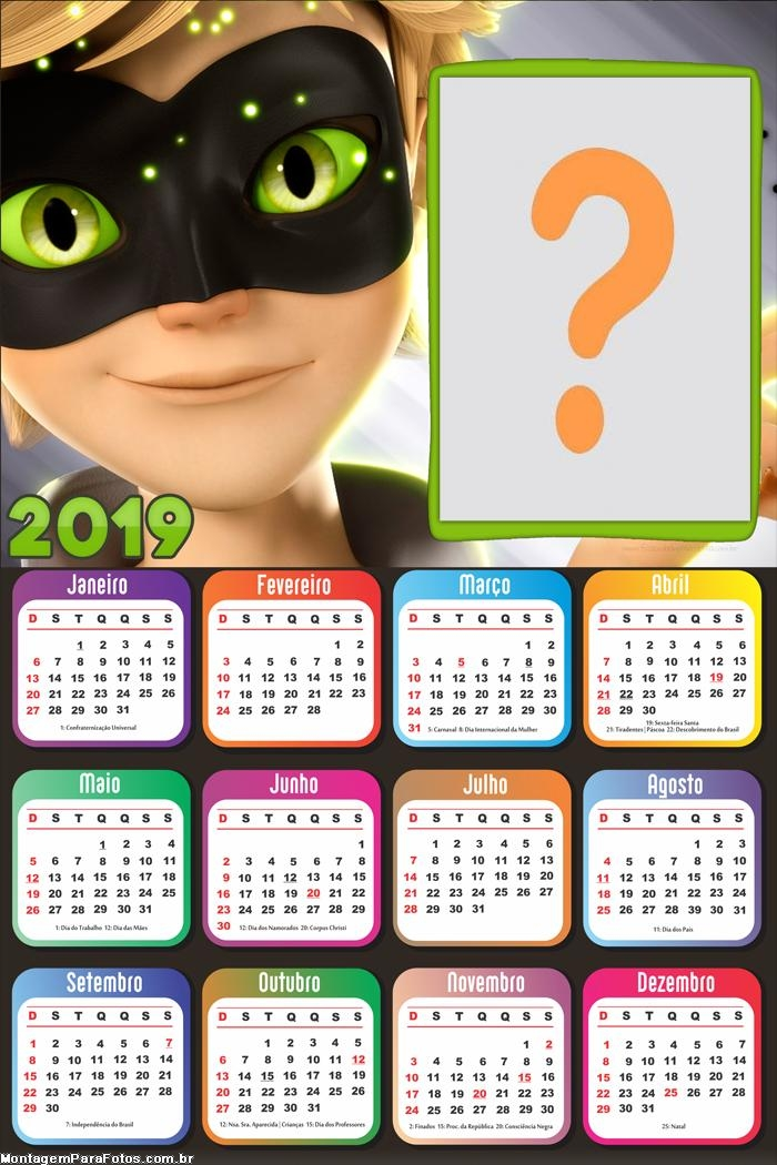 Calendário 2019 Miraculous Catnoir