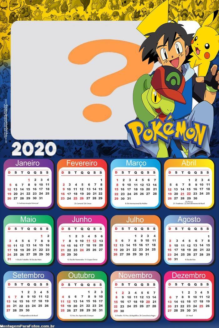 Montar Calendário 2020 do Pokémon Desenho