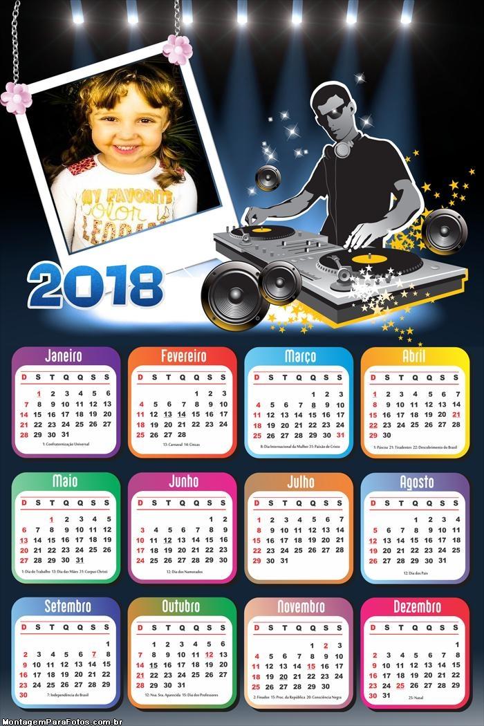 Calendário 2018 Dee Jay Músicas