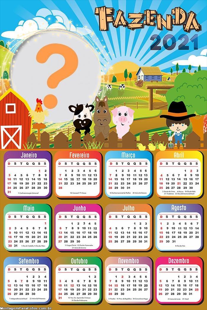 Calendário 2021 Fazenda Infantil Montagem Online