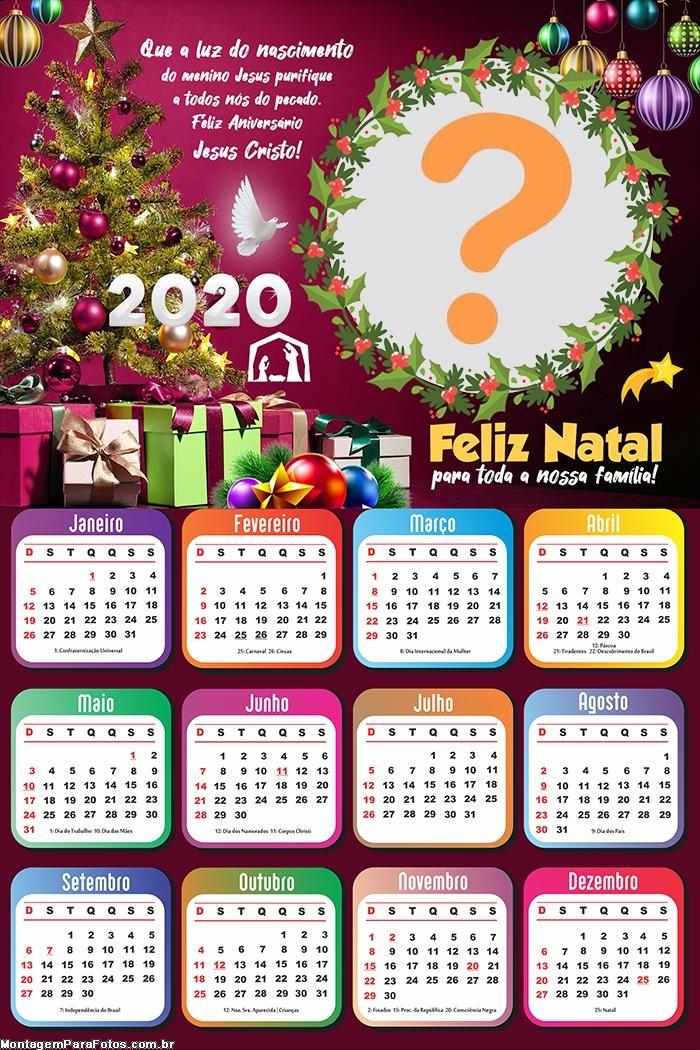 Calendário 2020 Feliz Natal Gospel