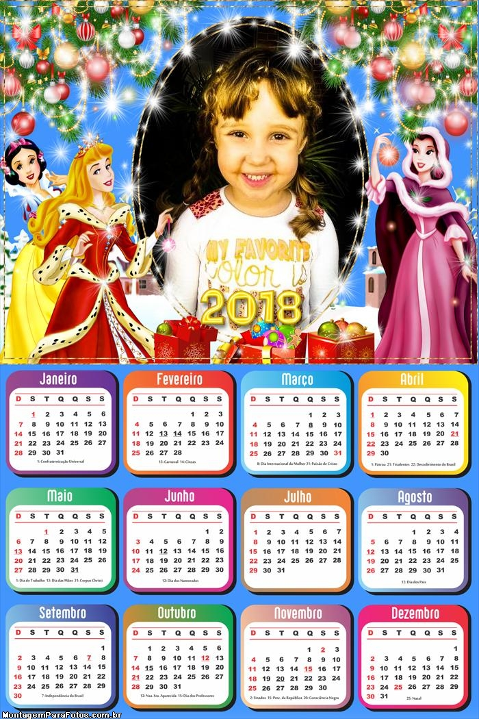 Calendário 2018 Natal das Princesas