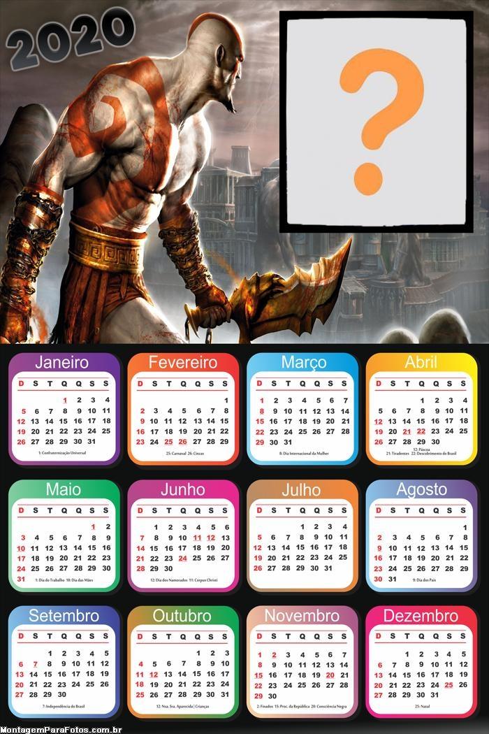Calendário 2020 God of War Foto Moldura Digital