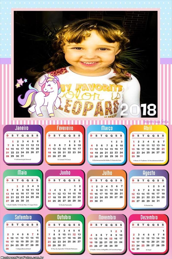 Calendário 2018 Unicórnios