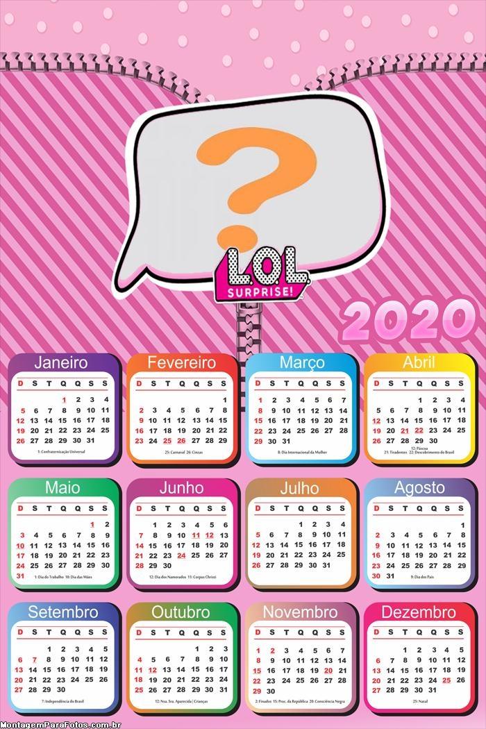 Calendário 2020 da LOL Surprise