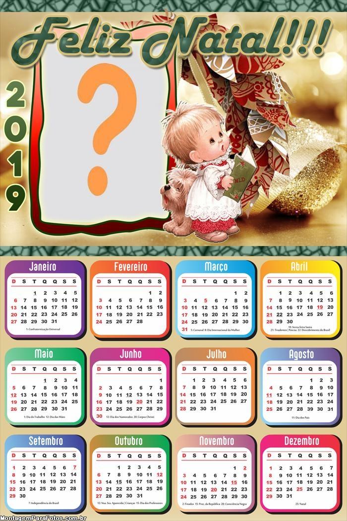 Calendário 2019 Criança Feliz Natal