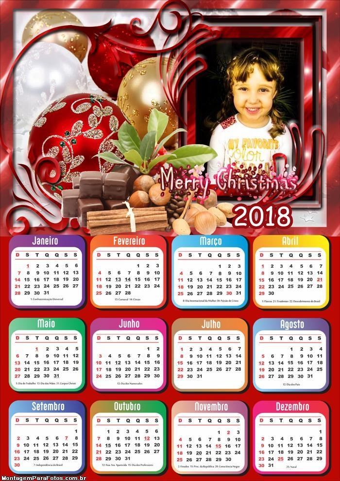 Merry Christmas Calendário 2018