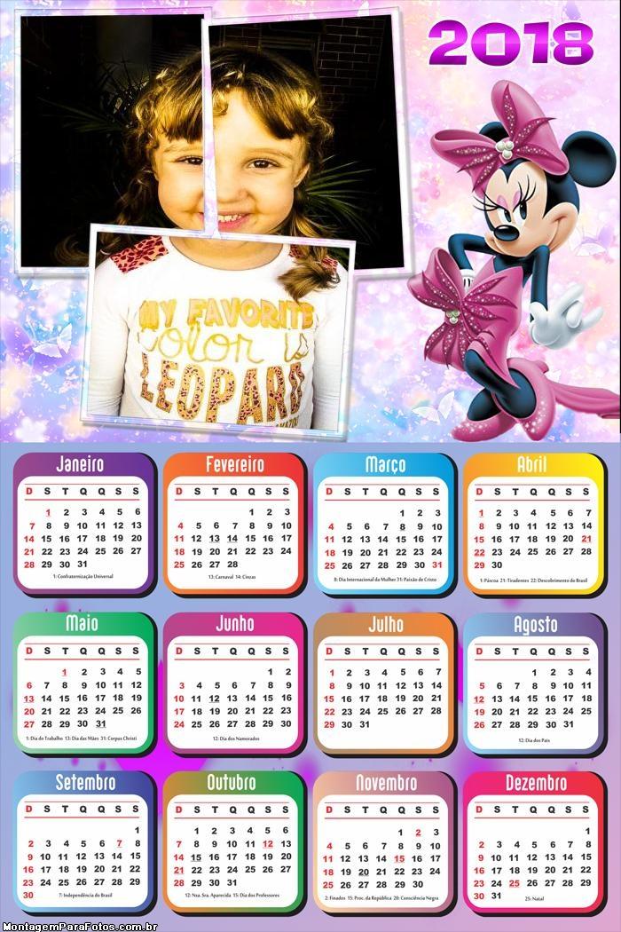 Calendário 2018 Minnie Rosa