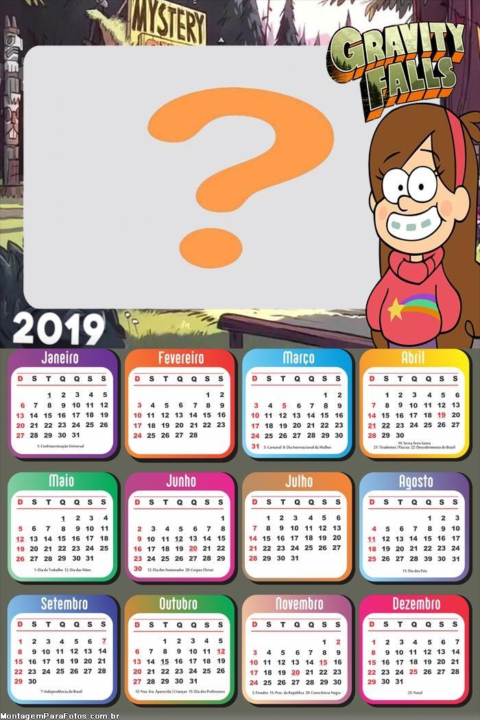 Calendário 2019 Mabel Gravity Falls