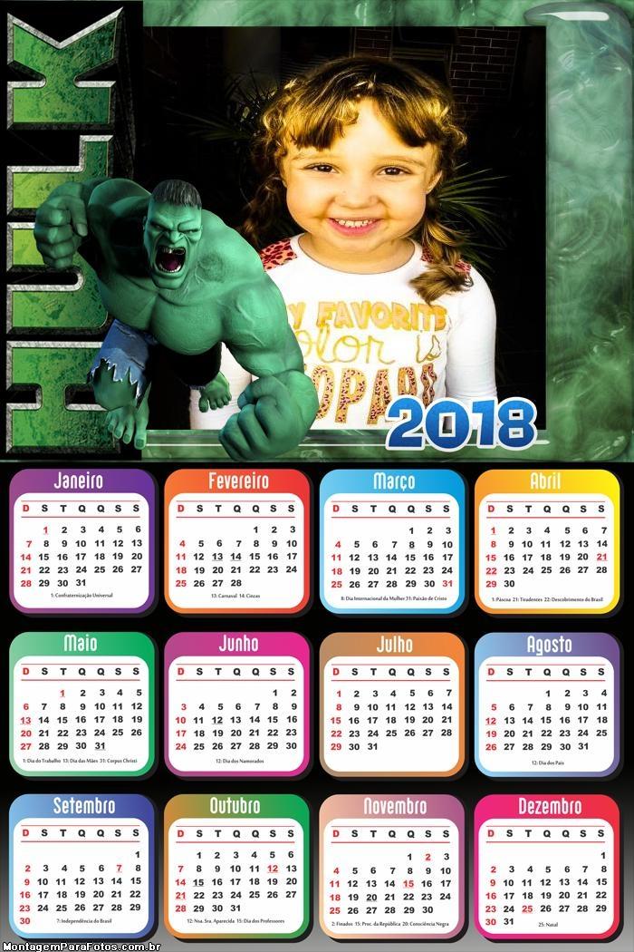 Calendário 2018 do Hulk