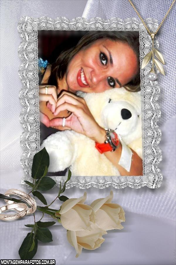 Espelho com Rosas Brancas