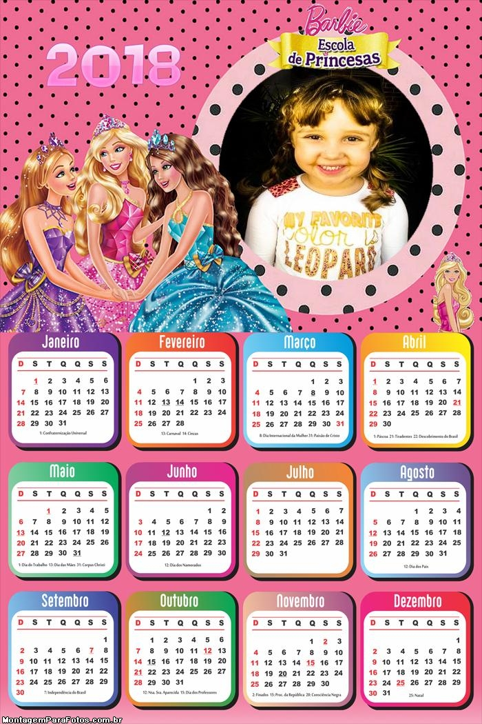 Calendário 2018 Escola de Princesas