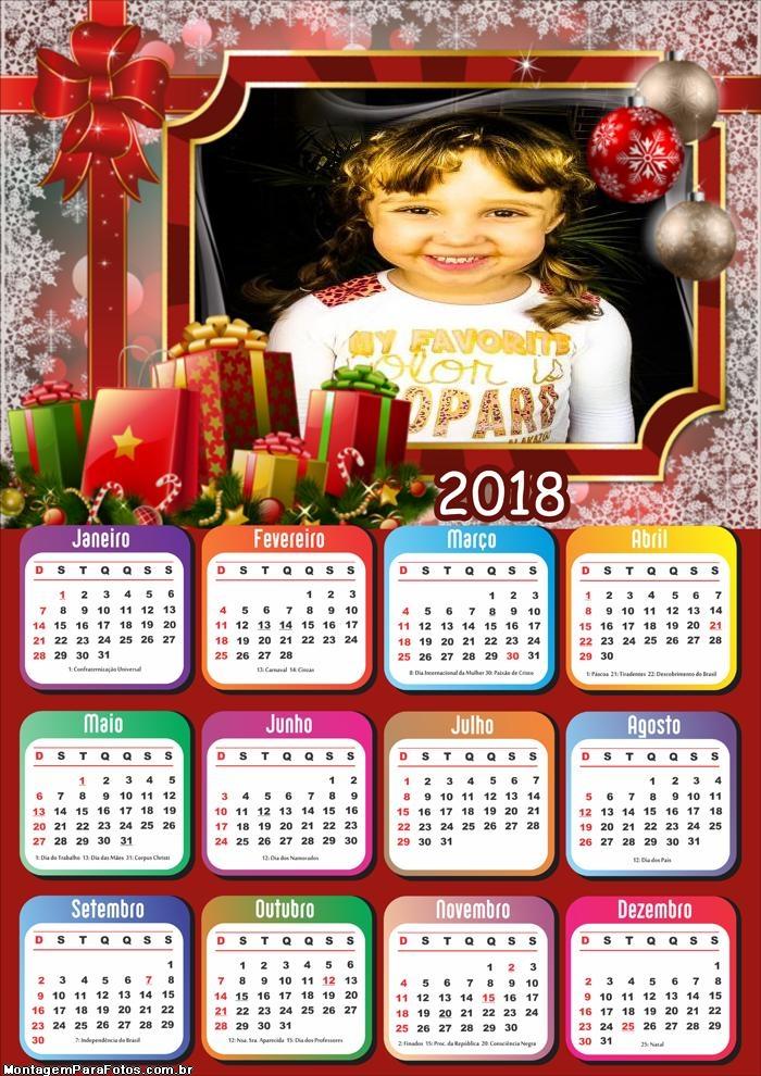 Linda Moldura Natal Calendário 2018