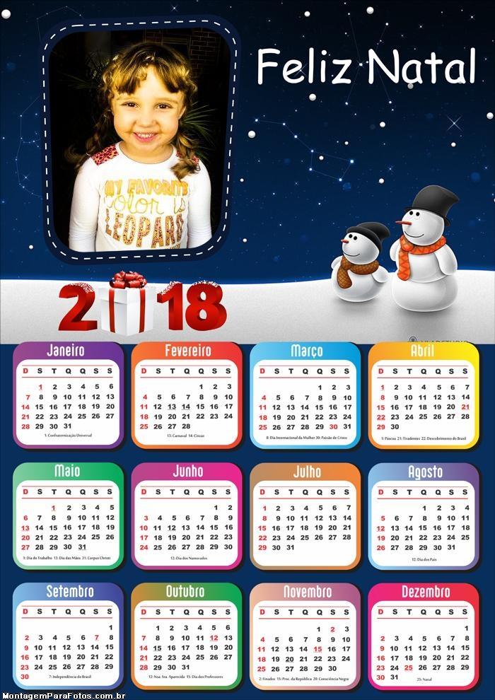Calendário 2018 Online de Feliz Natal