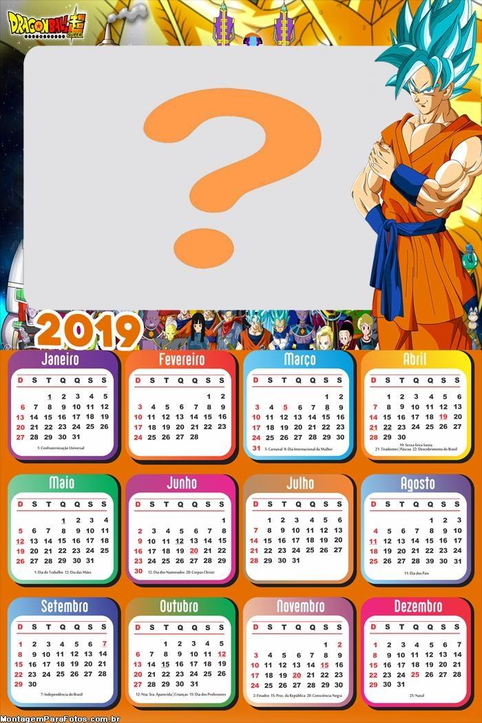 Calendário 2019 Goku Super Sayajin