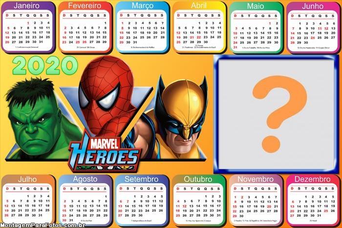 Calendário 2020 Marvel Heroes Horizontal