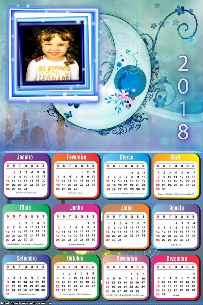 Calendário 2018 da Lua Desenho