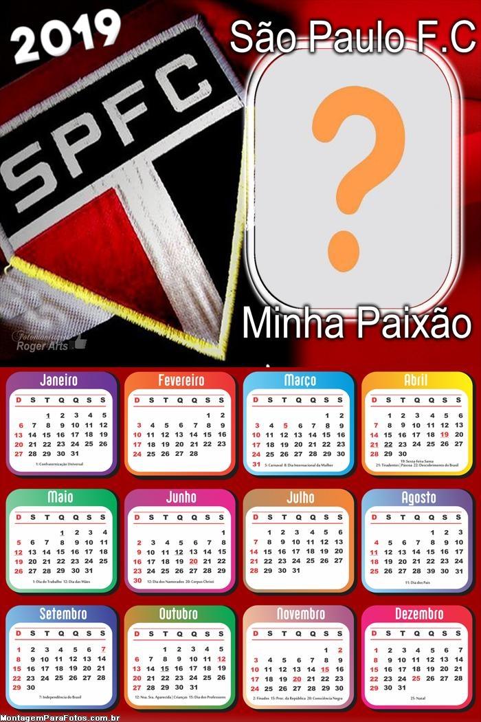 Calendário 2019 São Paulo Minha Paixão