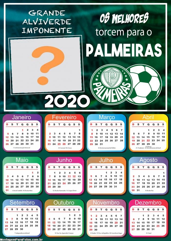 Calendário 2020 do Palmeiras Foto Montagem