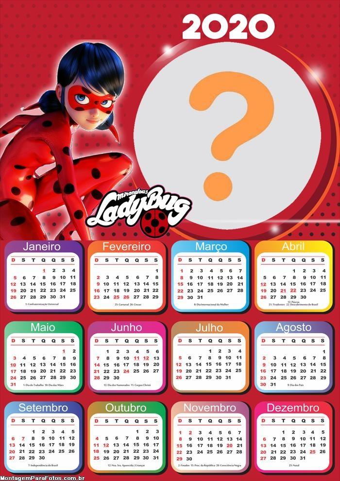 Calendário 2020 da LadyBug Colagem de Foto