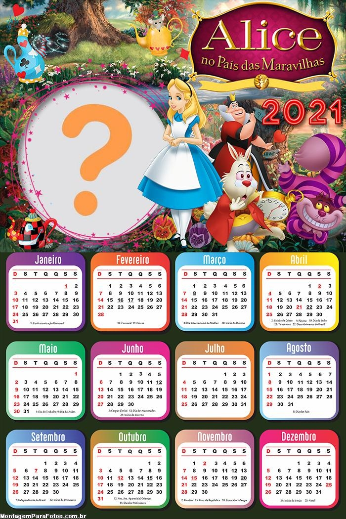 Calendário 2021 Alice no País das Maravilhas