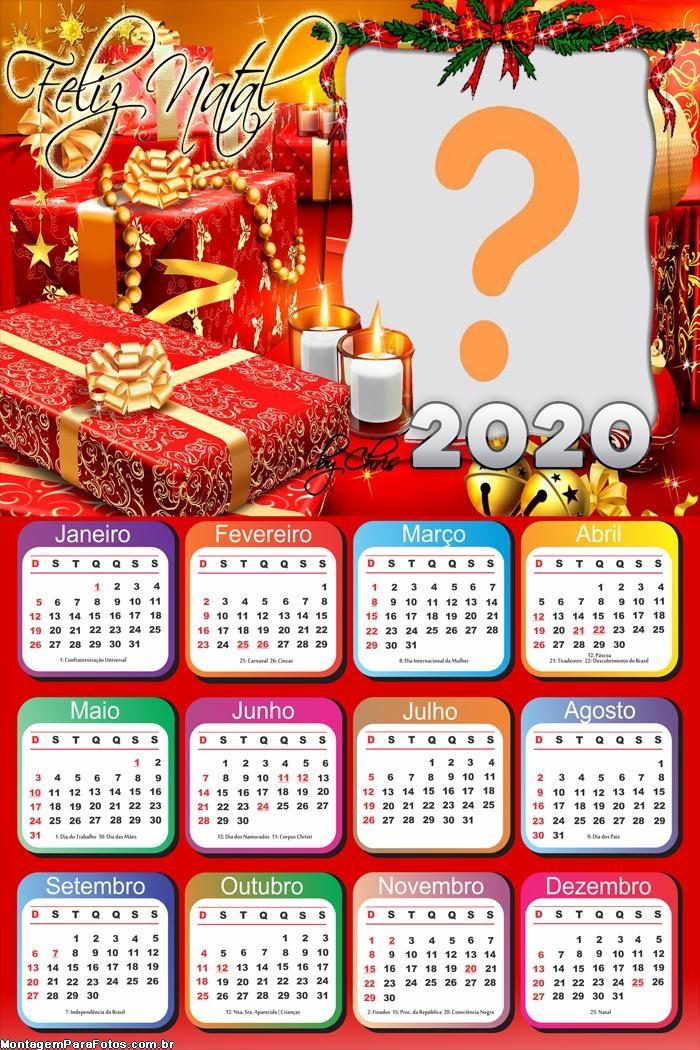 Colagem de Foto Calendário 2020 Feliz Natal