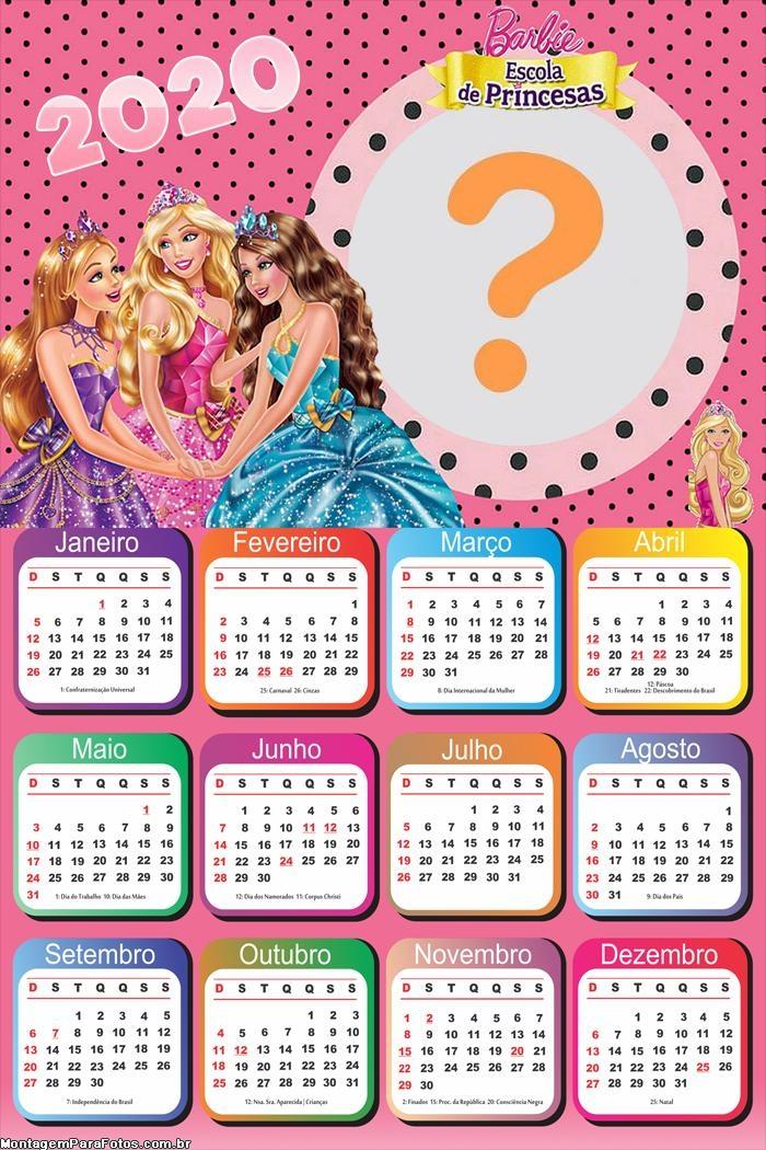 Emoldurar Calendário 2020 Barbie Escola