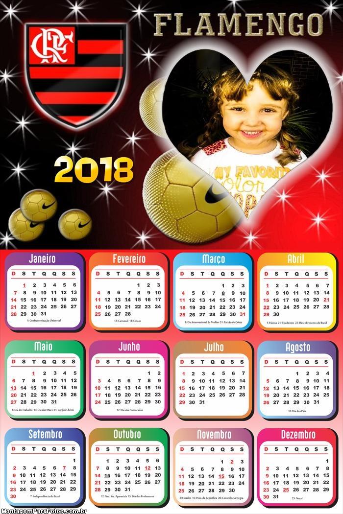 Calendário 2018 Flamengo Coração