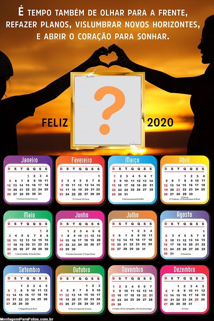 Calendário 2020 É tempo de abrir o Coração