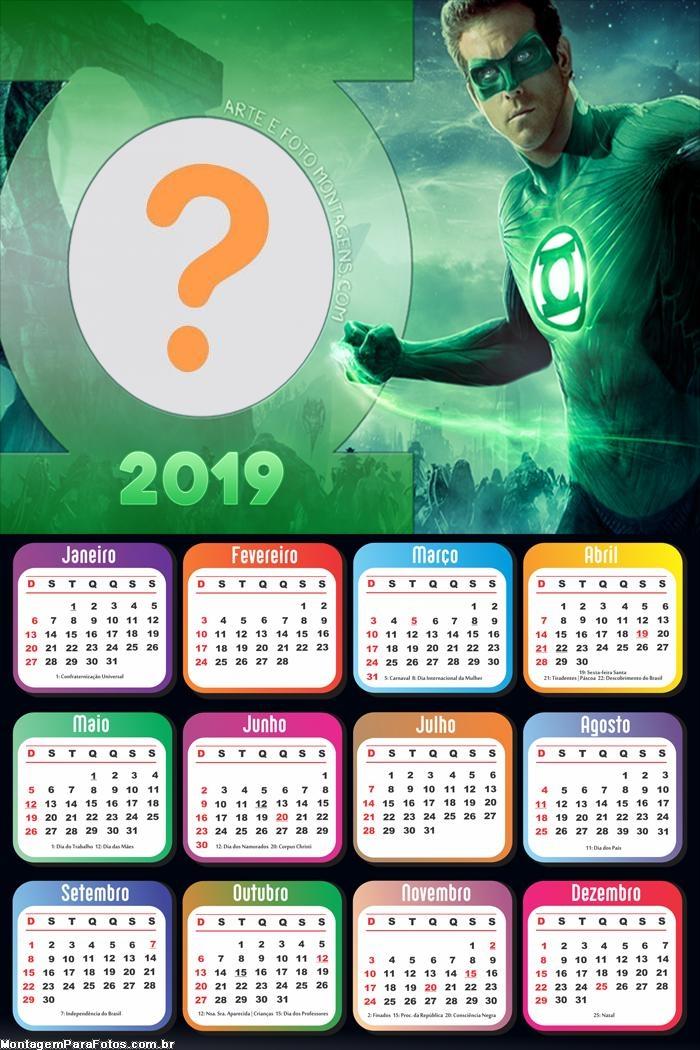 Calendário 2019 Lanterna Verde Filme